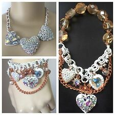 Betsey Johnson Two Tone Three Heart Frontal Necklace and Bracelet set
