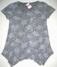FRESH PRODUCE Medium Oyster Gray BATIK Flower Vintage Drape Top NWT M