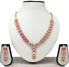 Indian Bollywood Gold Plated  Multi Color Diamond Necklace Earrings Jewelry Set