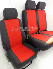 VW TRANSPORTER T5 VAN SEAT COVERS MADE TO MEASURE RED  VELOUR P30RD IN STOCK!!!