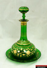 Vintage Emerald Green Heavy Glass Gold Gilded Leaves & Rose Decanter w/Plate L5Y