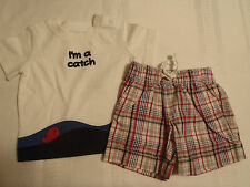 GYMBOREE Baby Boys 12-18 Month Pelican Catch Plaid Shorts Shirt Outfit NWT