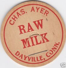 MILK BOTTLE CAP. CHAS. AYER. DAYVILLE, CT. DAIRY