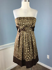 BCBG Max Azria Brown Animal Print Silk wool Strapless Dress Cocktail Party S 4