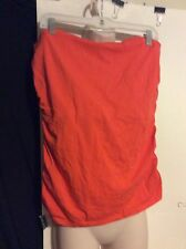 NEW Womens Plus 2X Orange Halter Top Cotton Stretch Summer Shirt Strapless Cute