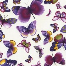 Butterflies Viola Cotton Quilt Fabric by Timeless Treasures Purple Lavender