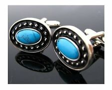 Silver Blue Turquoise Cufflinks Cuff Links South West Style Cowboy Free Shipping