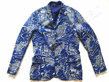 New Ralph Lauren Polo Linen Indigo Blue Koi Fish Sport Coat Jacket Slim 40 R