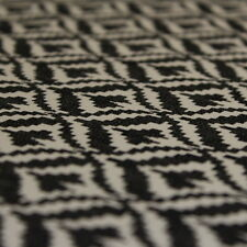 Feathered Diamonds Print Denim Type Dress Fabric Material (Charcoal/Ivory)