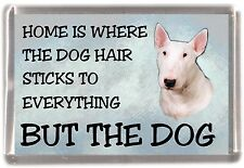 "Bull Terrier (White) Dog Fridge Magnet ""Home is Where""  by Starprint"