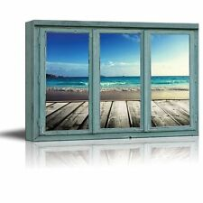 Dock view of perfect blue ocean waves coming ashore - Canvas Art- 24x36 inches