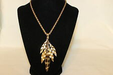 """VINTAGE GOLD TONE MONET DANGLE LEAF LEAVES WITH NICE CHAIN 15"""""""