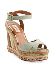 Brand New $595 VALENTINO  '1975' Ankle Strap Wedge Sandals Green Tea SZ 41/11