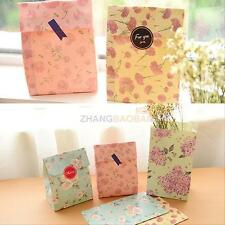 12pcs Flowers Floral Paper Gift Treat Bag Xmas Party Holiday Cookies Bag Sticker