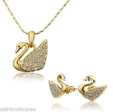 Luxury swarovski elements18K gold plated swan pendant earrings necklace chain