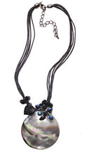 GRECAN GOTH DARK 'MOON' SHELL NECKLACE AB STONE FEATURE UNIQUE (ZX54tray)