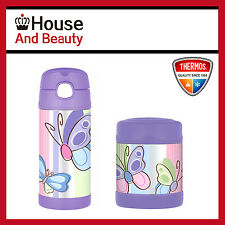 NEW Thermos Funtainer S/Steel Food Jar 290ml & Drink Bottle 355ml Butterfly