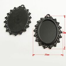 **4pcs Antique Style Black Color Oval Cameo Setting  Pendant 25*18mm 37816