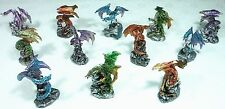 Set of 12 Assorted Dragons Miniature 9319844524209 NEW Purple Green Bronze Aqua