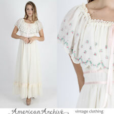 Vintage 70s Boho Wedding Dress Floral Embroidered Hippie Festival Party Maxi M