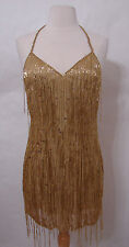 FRED HAYMAN Beverly Hills Vintage Gold Fringe Beaded Halter Mini Dress S