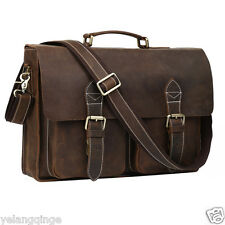 Fashion Vintage Style Mens Briefcase Shoulder Laptop Bag Real Leather Tote BNWT