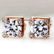 Rose Gold Filled Swarovski Crystal Diamond Eiffel Tower Bridal Stud Earring XE42