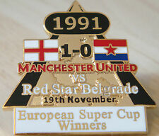 MANCHESTER UNITED v RED STAR Victory Pins 1991 EUROPEAN CUP Badge Danbury Mint