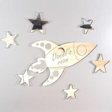 Rocket Mirror Set Personalised Door Name Plaque Boy Girls Bed Room Sign