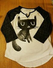 Mudd - Girl's 3/4 sleeve Black Kitty top with bling eyes size 12  -