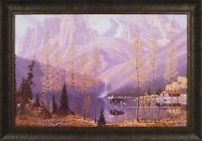 PLACE OF DREAMS by Roy Kerswill 24x33 FRAMED PRINT Mountains Moose Lake Cabin