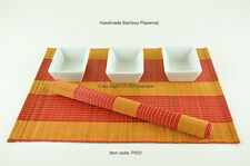 6 Bamboo Placemats, Handmade Table Mats, Orange-Red , P003