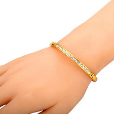 Gold Plated Simple Rhinestone Crystal Bangle Bracelet cuff Jewelry Girl Gift