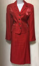 HARVE BERNARD WOMENS RED BUSINESS SKIRT SUIT SIZE 12P/12 WITH NWT BLOUSE