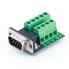 DB9 RS232 D SUB 9 Pin Male Connector to 9 Position Terminal Breakout Board HG