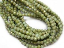 3mm Mint Green Bronze Picasso Czech Glass Round Druk Beads (50) #5169