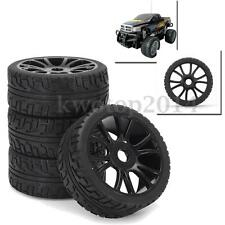 4PCS 17mm Black Flat RC Car Wheel Rim & Tires Tyre Hub For HSP Off-Road 1:8 Car