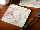 Set of 4 EVERYDAY HOME Atlas Map CORK-BACKED COASTERS Drink Mats
