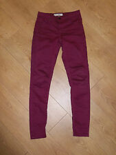 """TOPSHOP MOTO LEIGH SKINNY RASPBERRY JEGGINGS JEANS SIZE 6 W25"""" 32"""" £38 VGC"""