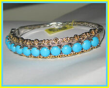 Sleeping Beauty Turquoise  Bangle Bracelet 10cts ! 14K YG Platinum S Silver 925