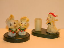 Vintage Christmas decoration 1980s plastic candle holder set SHEEP BUNNIES