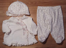 Girl's Size NB Newborn 3 Pc Little Me Cream Floral L/S Top, Footed Pants & Cap