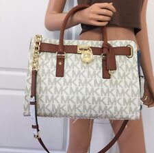Michael Kors Hamilton Large PVC Leather Satchel Shoulder Handbag Purse Vanilla