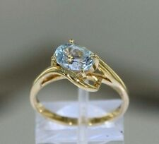 Oval Shape Aquamarine 14k Yellow Gold Ring Size 6.75 (3.3 grams)