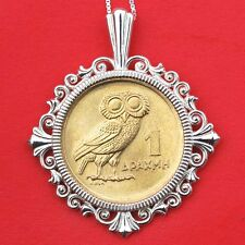 1973 Greece 1 Drachma Athena's Owl & Phoenix BU Coin Sterling Silver Necklace