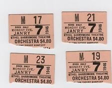 """4 Orchestra Seat Stubs/Broadway's Ethel Barrymore Theatre/""""Pygmalion"""" 1946"""
