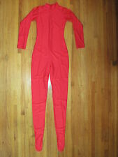 Woman's Plus Size Shiny Red Spandex Footed Zentai Unitard Catsuit Size XXL New