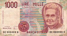 BANCONOTA ITALIANA DA 1000 LIRE MONTESSORI SERIE DE 960466 G SC-7