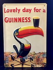 GUINNESS Toucan Vtg Metal Pub Sign 3D Embossed Steel Garage Bar Decor,Irish