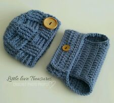 NEW Newborn Baby Boy Basket Weave Button Hat and Diaper Cover Infant Photo Prop